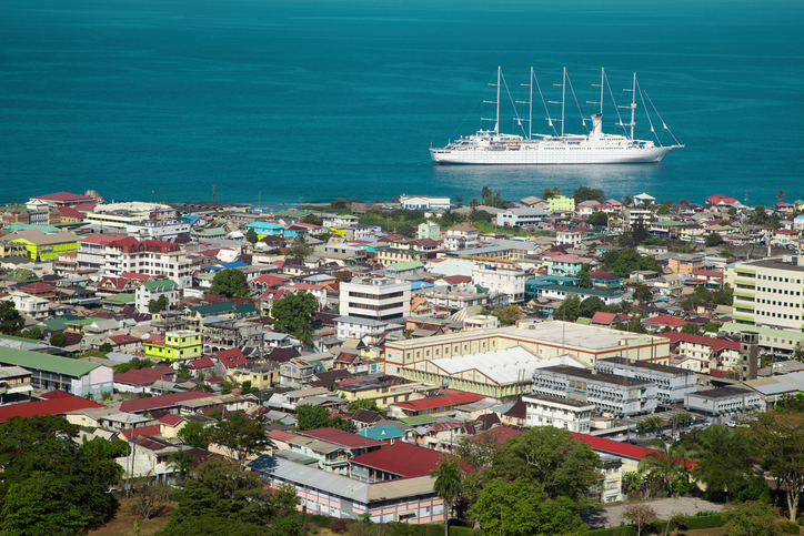 roseau dominica city boat coast port island caribbean