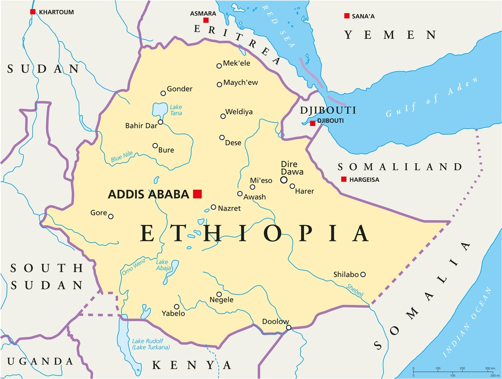 ethiopia map east africa horn cities political