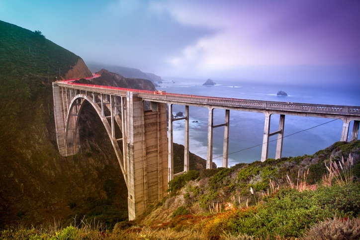 big sur california usa road trip bridge pacific ocean coast