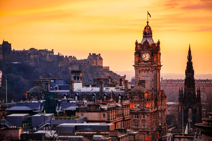 edinburgh scotland sunset dusk classical city