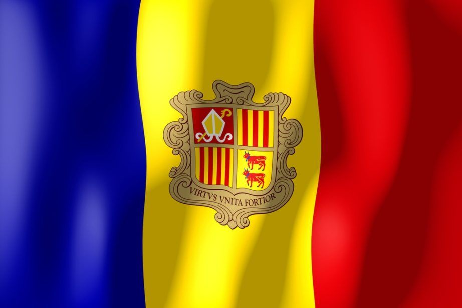 andorra flag red yellow blue crest