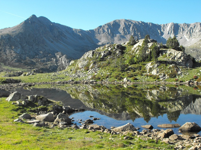 andorra mountains lake hiking rocky landscape