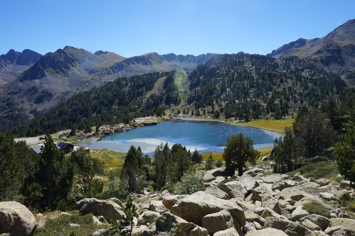 andorra lake mountains nature landscape