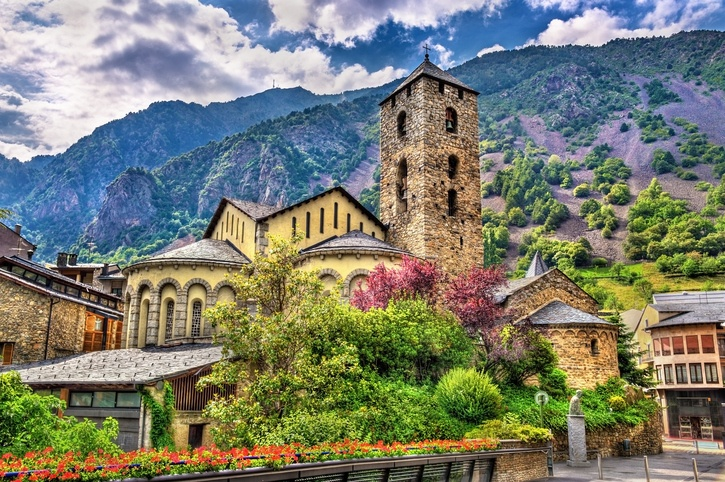 andorra church town village tower mountains