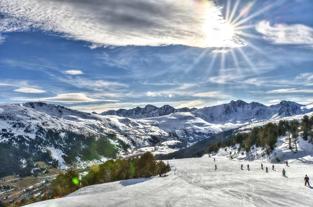 andorra travel ski mountains winter pyrenees landscape sun
