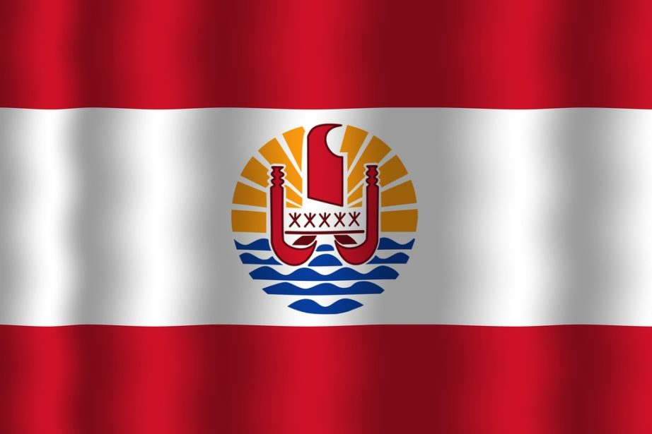 french polynesia red white crest canoe waves ocean