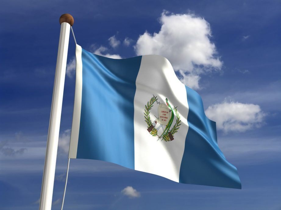 guatemala flag sky blue white crest waving