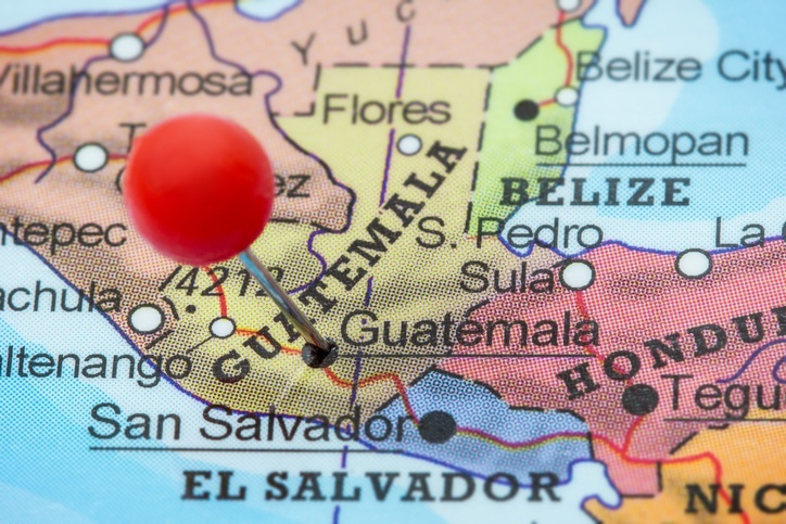 guatemala map pin central america country