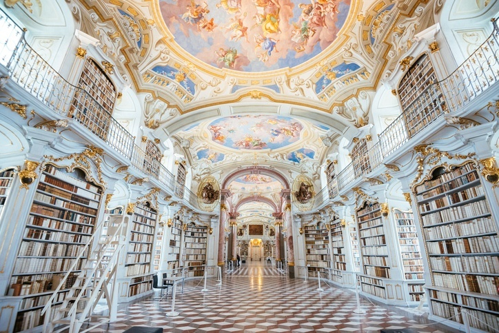 admont abbey library monastery monk austria paintings fresco books