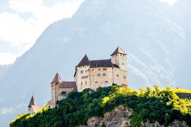 castle liechtenstein Gutenberg mountains alpine country