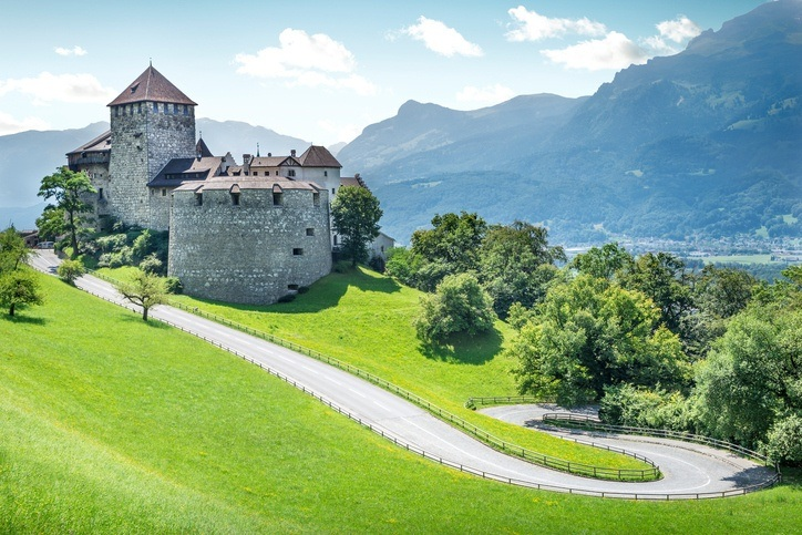 liechtenstein castle road mountains medieval