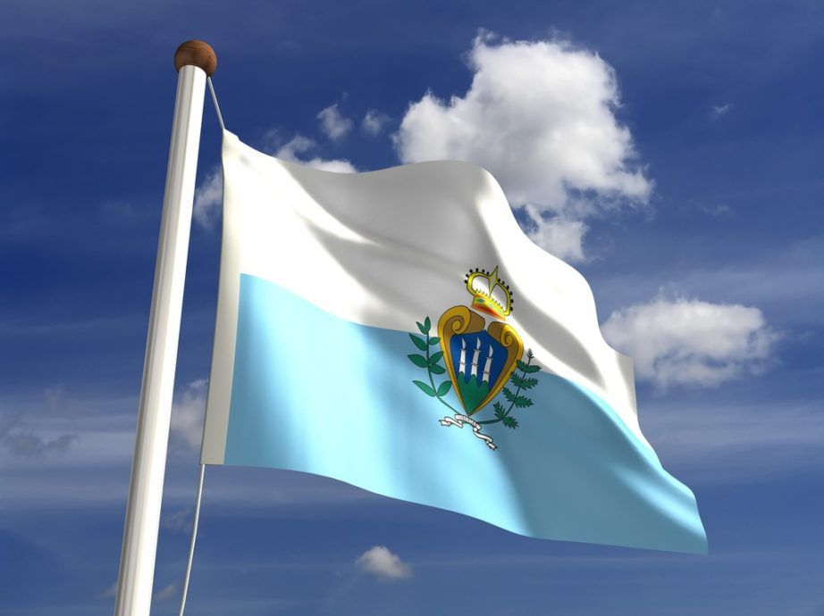 san marino flag blue white coat of arms towers