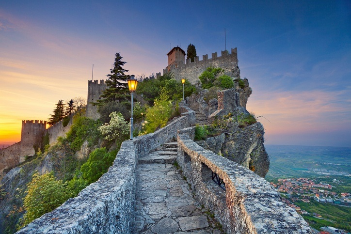 san marino path walkway mountain fort tower