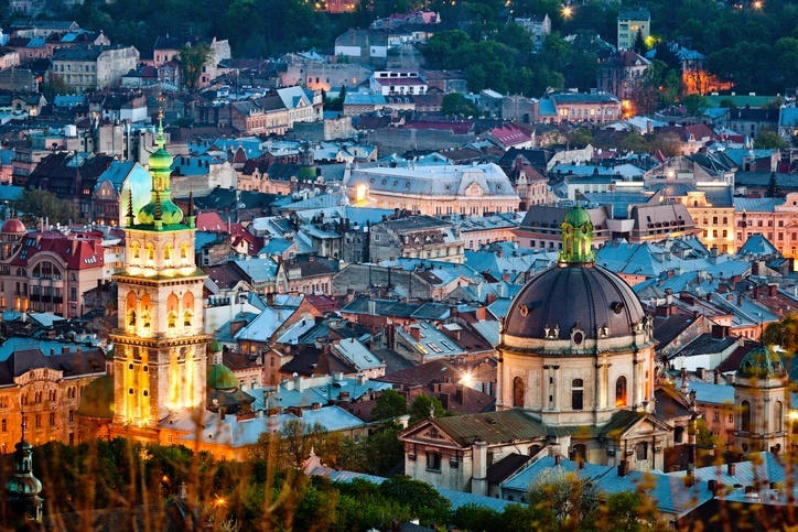 lviv ukraine city classical night