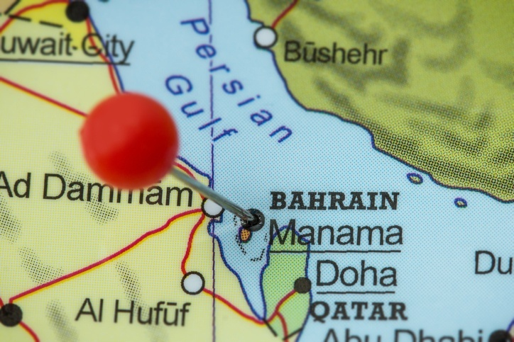 bahrain map persian gulf pin qatar saudi arabia