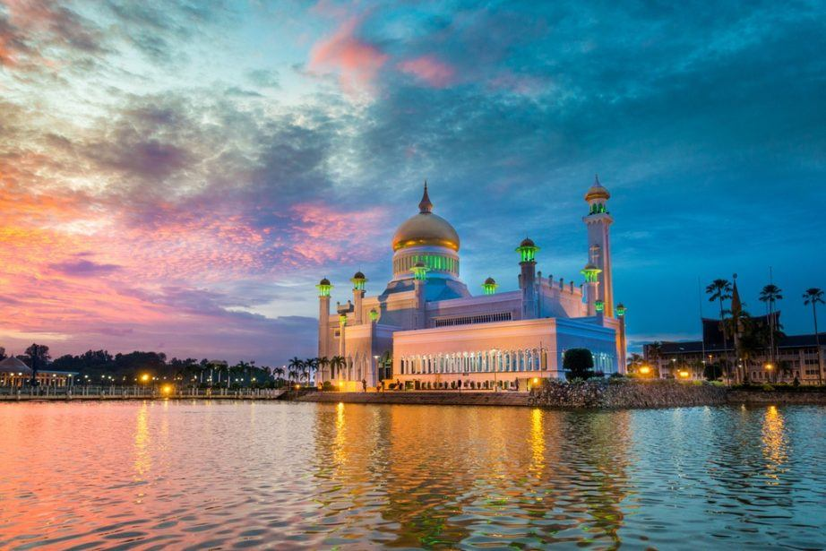 brunei travel bandar seri begawan sunset water mosque