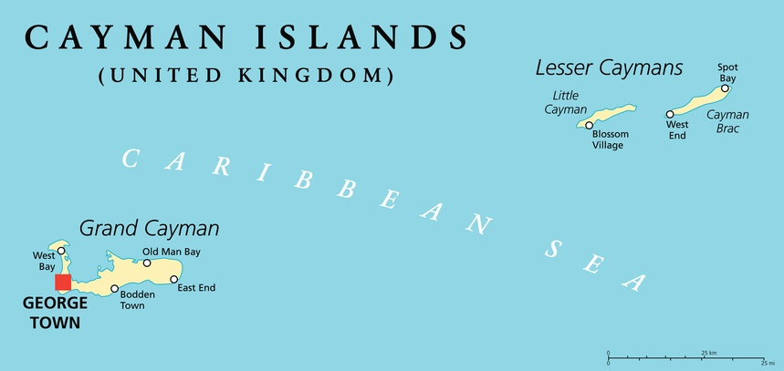 cayman islands map caribbean sea