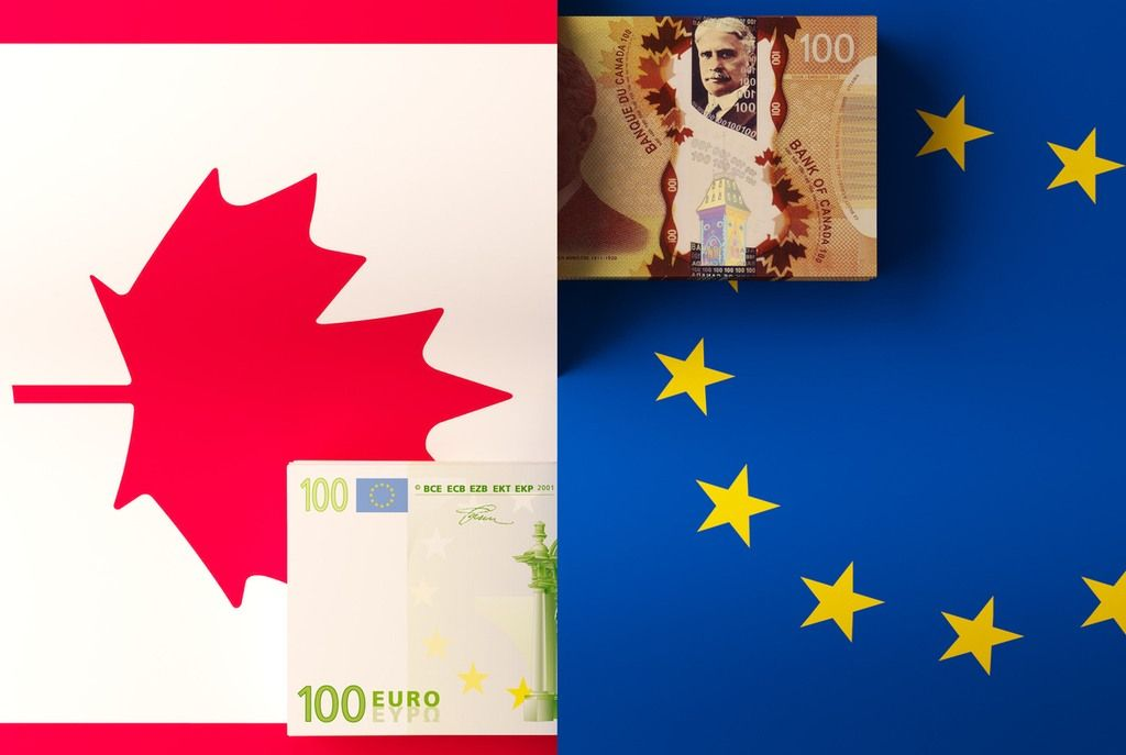 canadian dollar euro flags europe canada