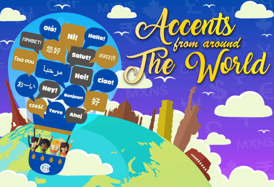 accents language world map globe city hot air balloon