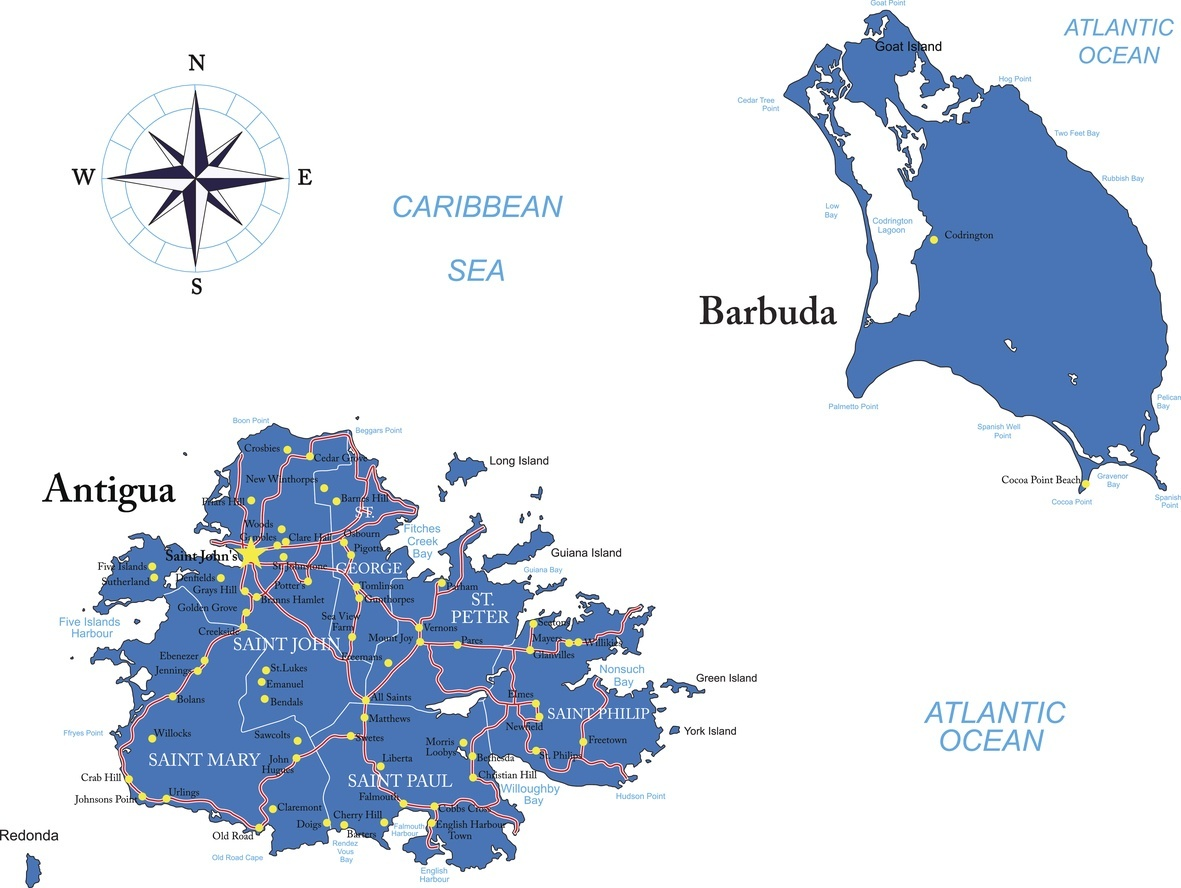 antigua and barbuda map caribbean islands compass