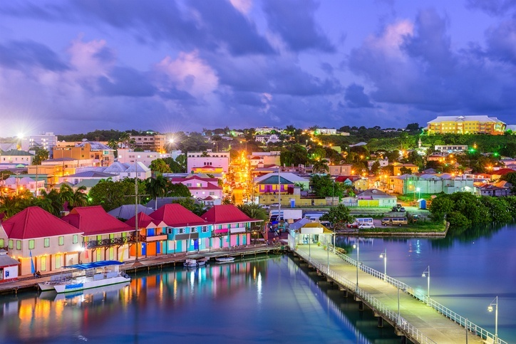 st john's antigua night lights city port