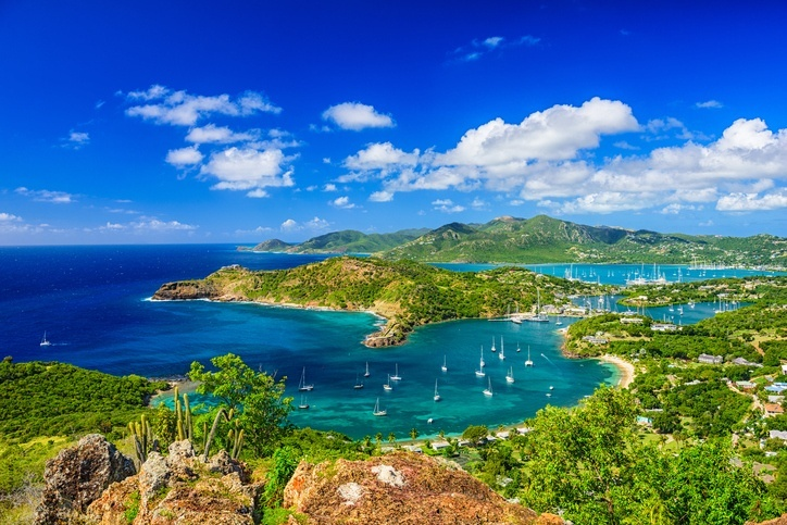 antigua barbuda bay hills ocean sea green