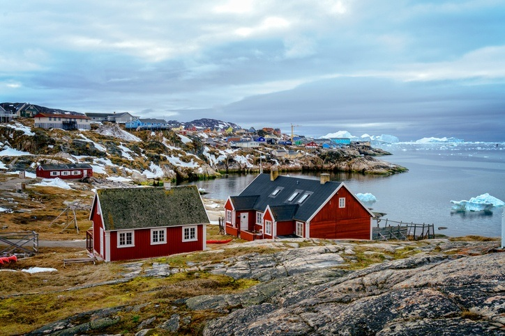 greenland houses coast rock cold colorful town