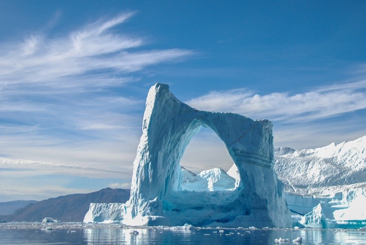 greenland iceberg coast frozen arch ocean sea