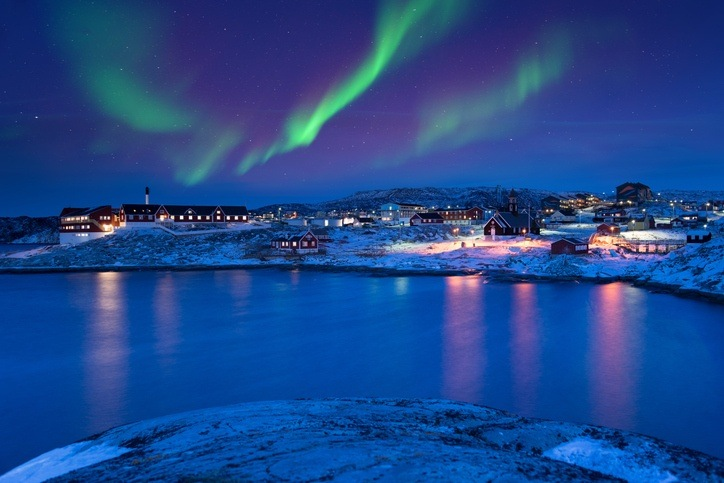 greenland northern lights town coast aurora borealis night