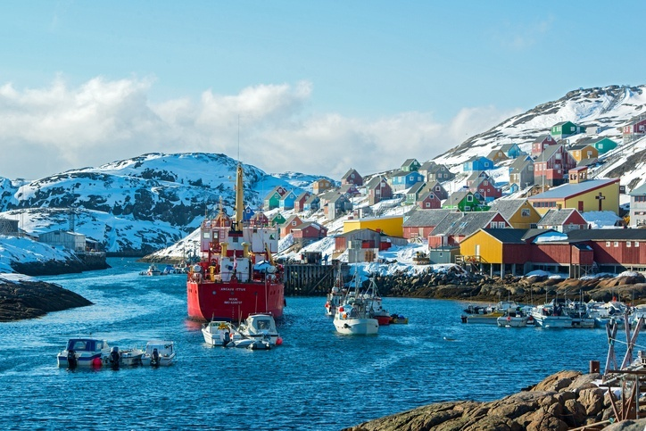 greenland ship boat industry village coast water