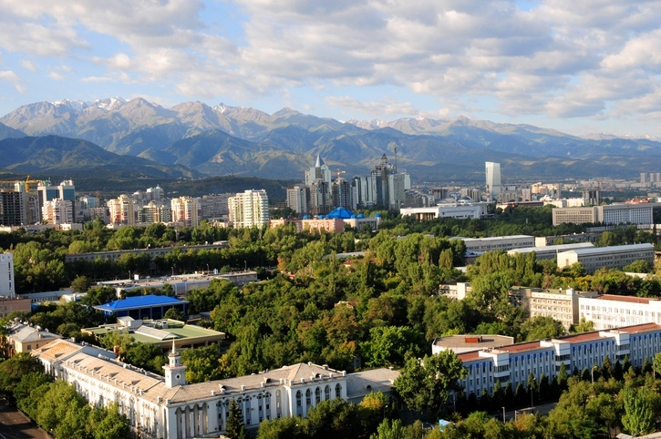 almaty kazakhstan city mountains green cityscape