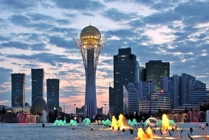 astana kazakhstan tower modern evening lights city