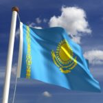 kazakhstan flag blue yellow eagle sun