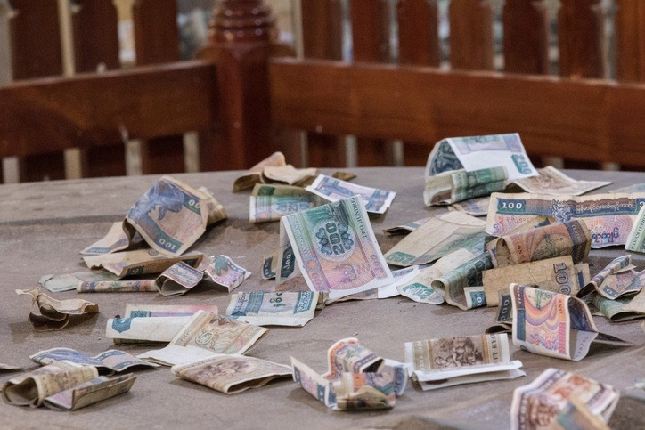 burmese kyat myanmar currency notes bills money buddhist charity pile