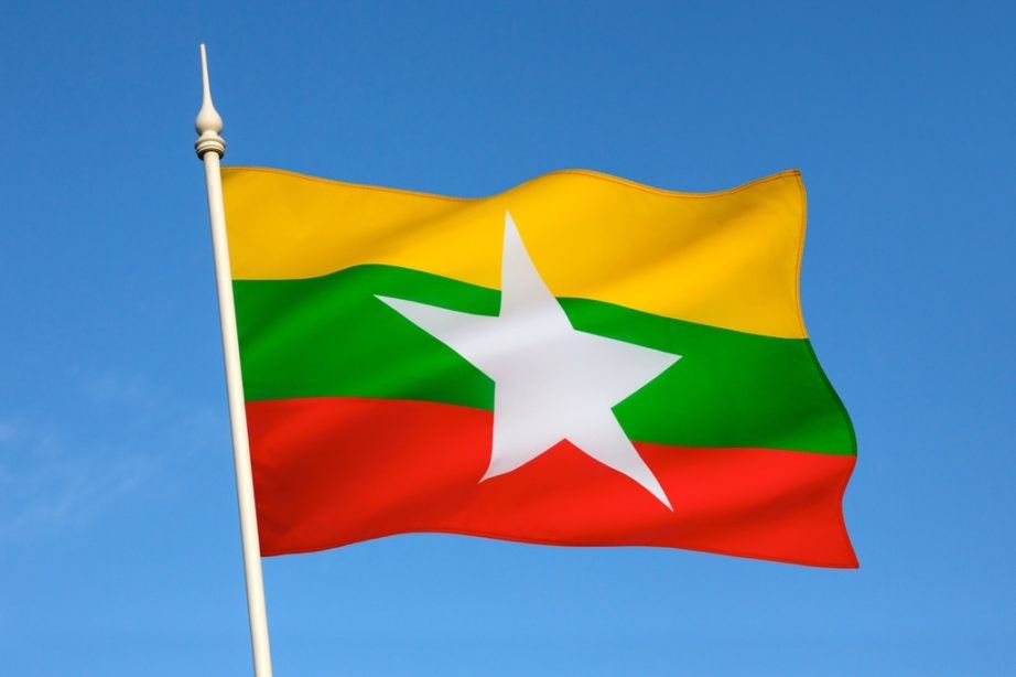 myanmar flag burma yellow green red white star