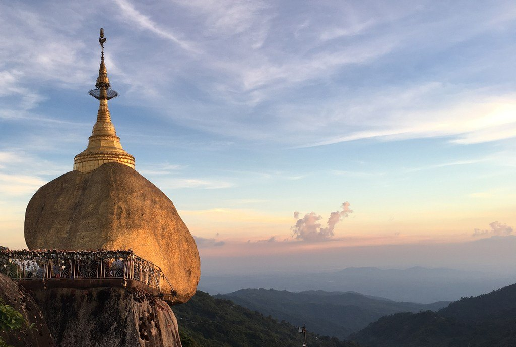 golden rock pagoda buddhist temple myanmar cliff mountain landmark