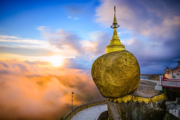 myanmar burma rock golden big clouds temple