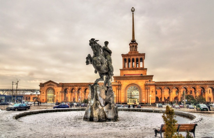 yerevan armenia statue train station city cloudy