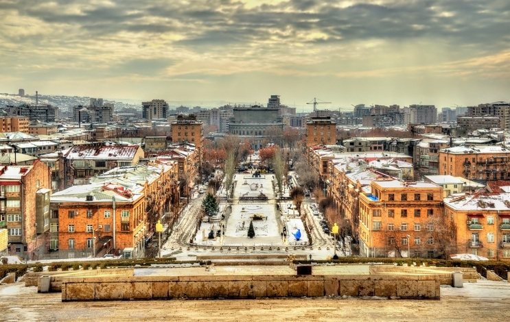yerevan city armenia snow cityscape