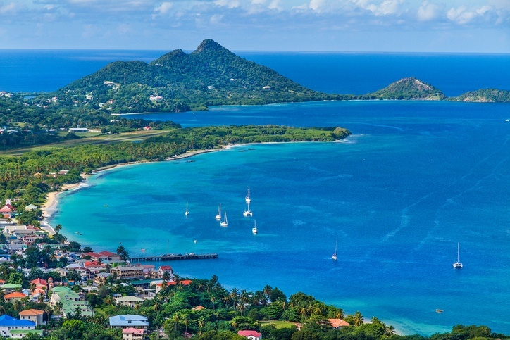 grenada carriacou island hillsborough bay caribbean sea