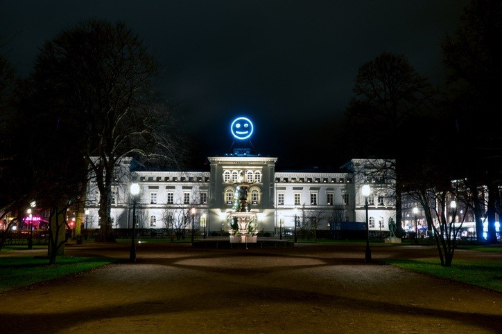 jonkoping city hall sweden smiley face night