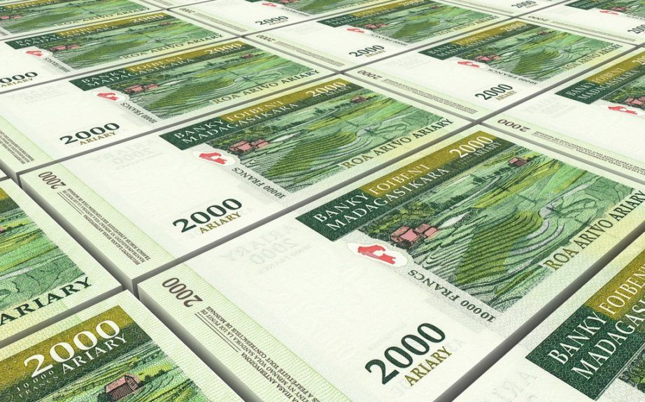 madagascar ariary currency money stack bills notes