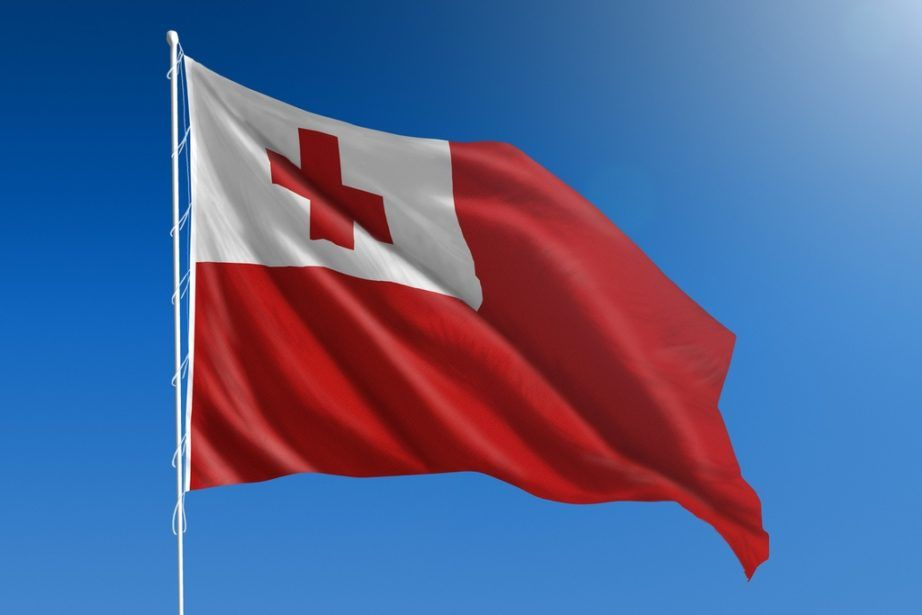 tonga flag red white cross waving