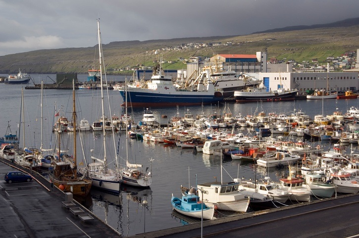 faroe islands boats port harbor torshavn