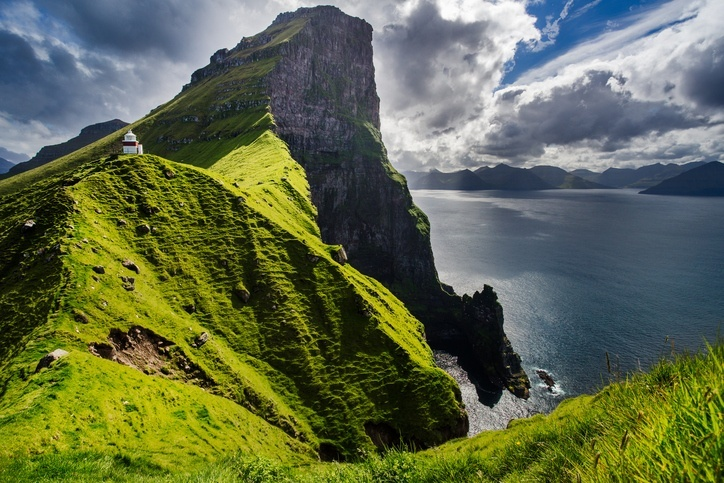 cliff faroe islands tall ocean mountain