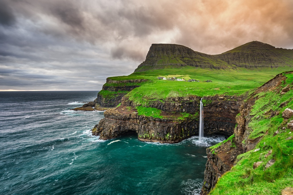 faroe islands travel cliffs waterfall ocean atlantic landscape