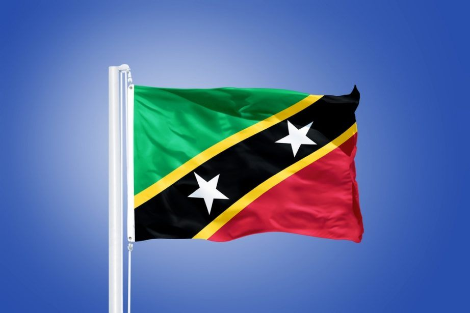 saint kitts and nevis flag green red black white stars yellow stripe