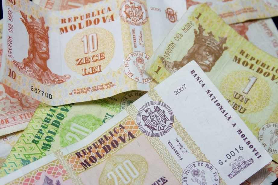 moldovan leu currency bills notes cash money pile