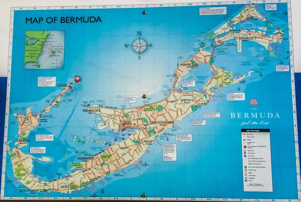 bermuda map island atlantic ocean poster