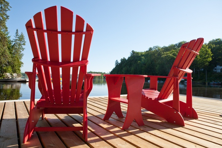 muskoka chairs red dock cottage vacation